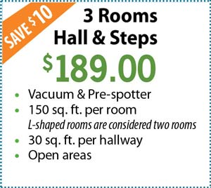 carpet cleaning - 3 rooms and hall for $189