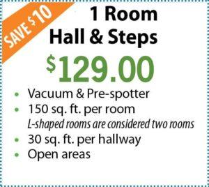 1 room, hall, and steps. $129